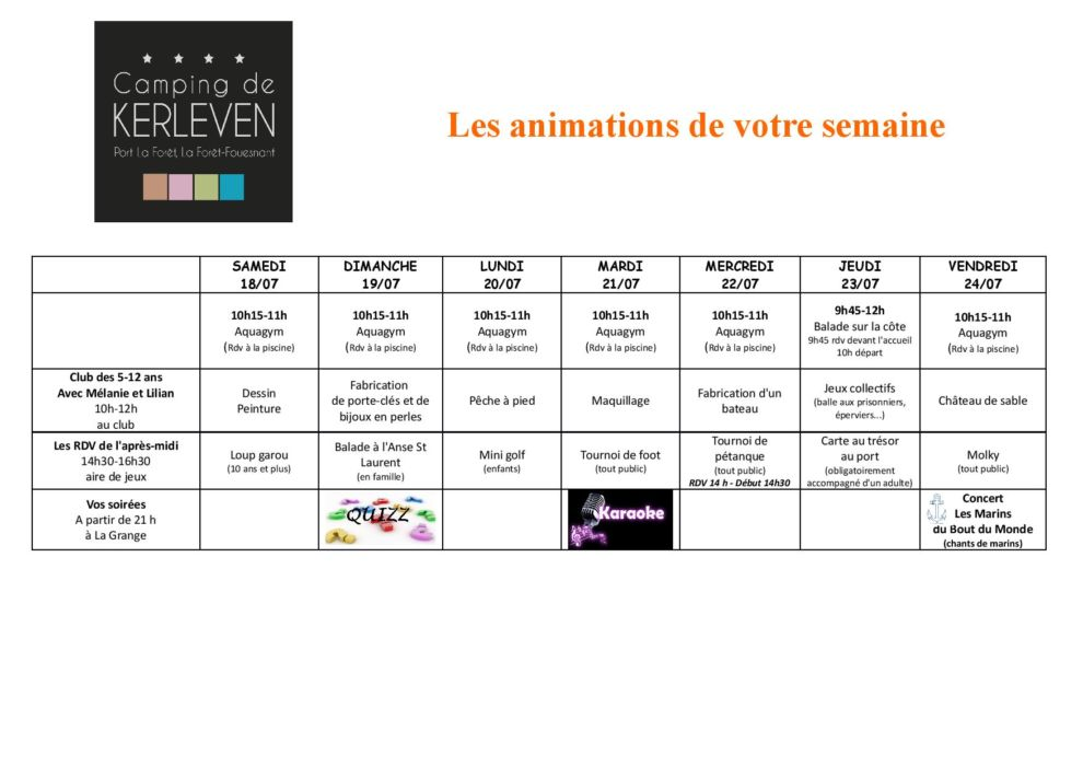 le programme des animations